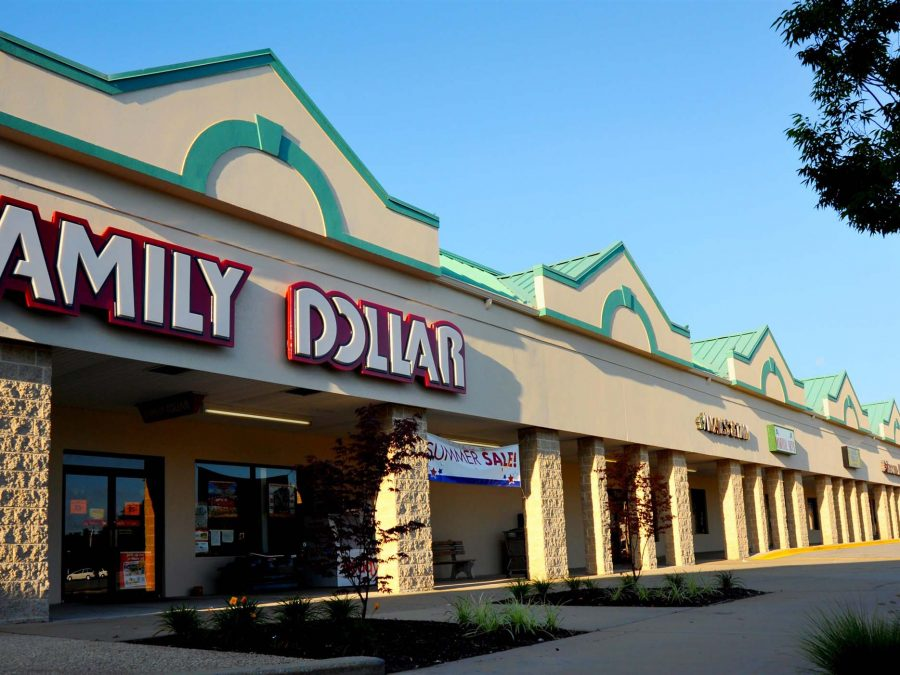 Family Dollar and row of stores exterior