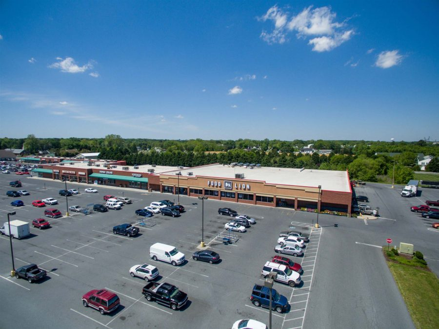 aerial view of food lion parking lot